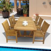Royal Teak Collection P25 7-Piece Teak Patio Dining Set with 64/80/96x39.5-Inch Double Leaf Rectangular Expansion Table & Compass Arm Chairs