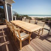 Royal Teak Collection P29 9-Piece Teak Patio Dining Set with 84/102/120x43.5-Inch Double Leaf Rectangular Expansion Table & Captiva Sling Stacking Chairs