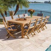 Royal Teak Collection P31 11-Piece Teak Patio Dining Set with 96-Inch Rectangular Table & Sailmate Sling Folding Chairs