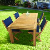 Royal Teak Collection P36 5-Piece Teak Patio Dining Set with 63x35-Inch Rectangular Table & Sailmate Sling Folding Side Chairs