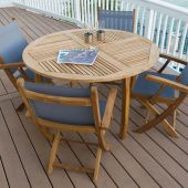 Royal Teak Collection P49 5-Piece Teak Patio Dining Set with 50-Inch Dolphin Round Table & Sailmate Sling Folding Arm Chairs