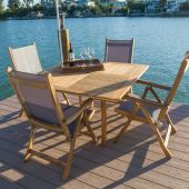 Royal Teak Collection P52 5-Piece Teak Patio Dining Set with 50-Inch Dolphin Square Table & Florida Sling Reclining Chairs