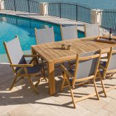 Royal Teak Collection P75 9-Piece Teak Patio Dining Set with 96x44-Inch Rectangular Table & Florida Sling Reclining Chairs