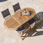 Royal Teak Collection P7 5-Piece Teak Patio Dining Set with 60/78-Inch Oval Expansion Table & Sailmate Sling Folding Side Chairs