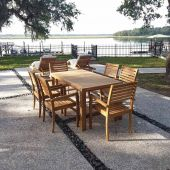 Royal Teak Collection P86 7-Piece Teak Patio Dining Set with 63x35-Inch Rectangular Table & Avant Stacking Chairs