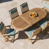 Royal Teak Collection P9 7-Piece Teak Patio Dining Set with 60/78-Inch Oval Expansion Table & Sailor Folding Chairs