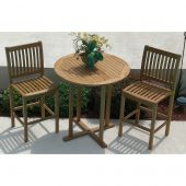 Royal Teak Collection P97 3-Piece Teak Patio Conversation Set with 39-Inch Round Bar Table & Classic Bar Chairs