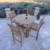 Royal Teak Collection P98 5-Piece Teak Patio Conversation Set with 39-Inch Round Bar Table & Classic Bar Chairs