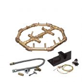 Warming Trends Crossfire Spark Ignition Octagonal Tree-Style Brass Gas Fire Pit Burner Kits