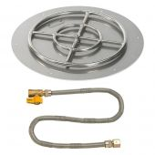 American Fireglass Match Light Fire Pit Kit, Round Flat Pan, 24 Inch Pan/18 Inch Burner, Natural Gas (NG)