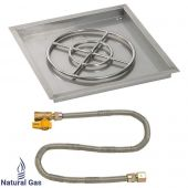 American Fireglass Match Light Fire Pit Kit, Square Bowl Pan, 24 Inch Pan/18 Inch Burner, Natural Gas (NG)