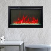 Amantii TRD-XS-Config Traditional Series Extra Slim Electric Fireplace Insert with Black Powder Coated Surround & Remote