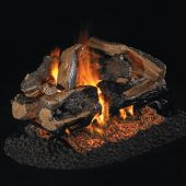 Real Fyre CHRRSO Charred Rugged Split Oak Stainless Steel Vented Gas Log Set, See-Thru, ANSI Certified