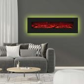 """72"""" Electric Unit with 81"""" x 23"""" Black Glass Surround and Clear Fire Glass in Living Room"""