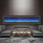 Sierra Flame by Amantii WM-FML-88-9623-STL Electric Fireplace with Surround, 88-Inch