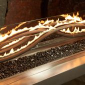 The Outdoor GreatRoom Company WV-56 Black Linear Wave Gas Fire Pit Burner, 56-Inch