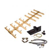Warming Trends Crossfire Spark Ignition Double Tree-Style Brass Gas Fire Pit Burner Kits