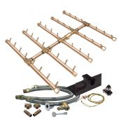 Warming Trends Crossfire Spark Ignition Square Tree-Style Brass Gas Fire Pit Burner Kits
