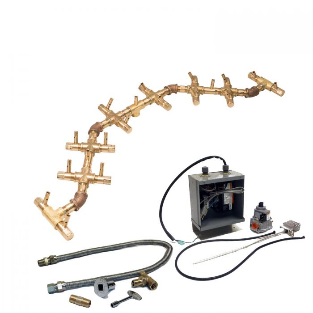Warming Trends Crossfire 24V Electronic Spark Ignition Centipede Brass Gas Fire Pit Burner Kit