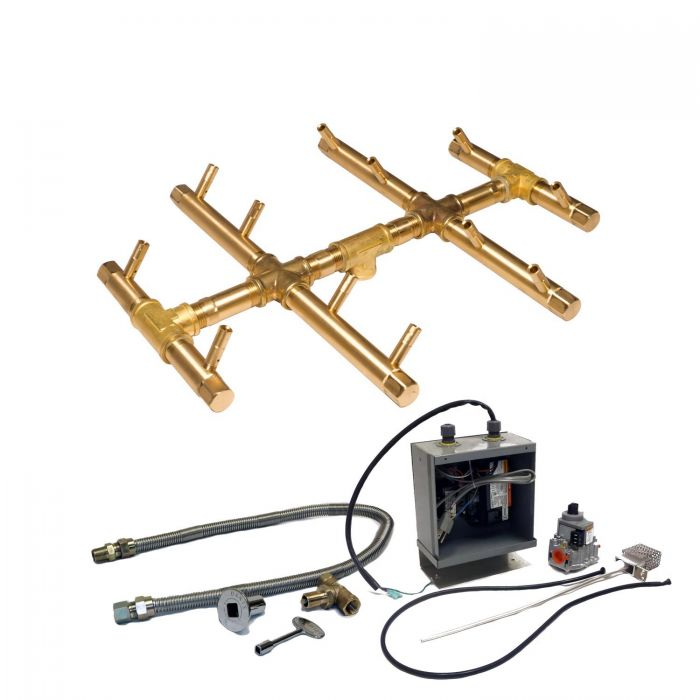 Warming Trends Crossfire 24V Electronic Spark Ignition Round Tree-Style Brass Gas Fire Pit Burner Kits