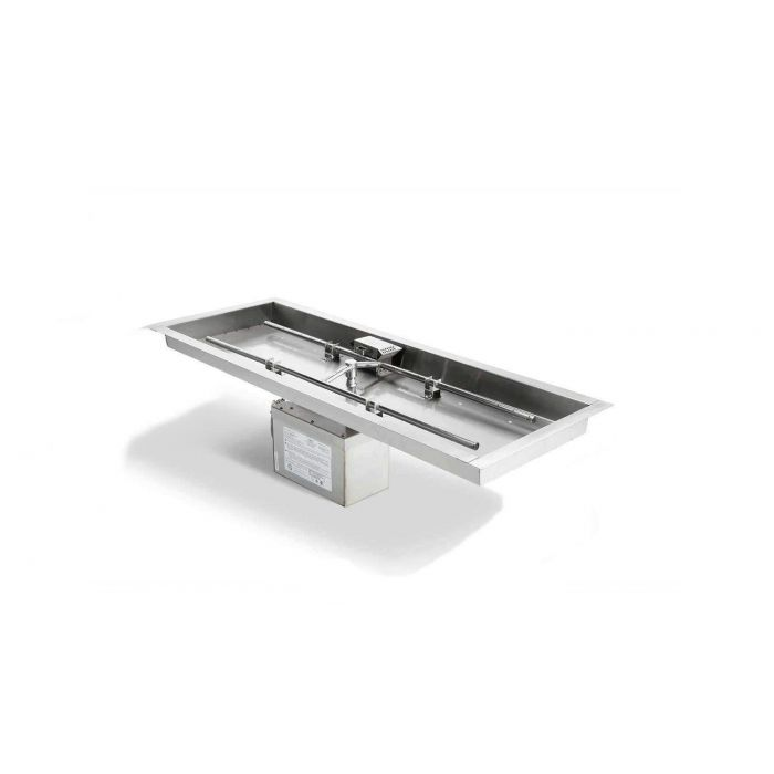 Hearth Products Controls Electronic Ignition Gas Fire Pit Kit, Rectangular Bowl Pan