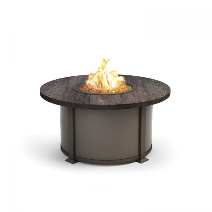 Homecrest Timber Collection Round Coffee Height Gas Fire Pit Table, 42-Inches