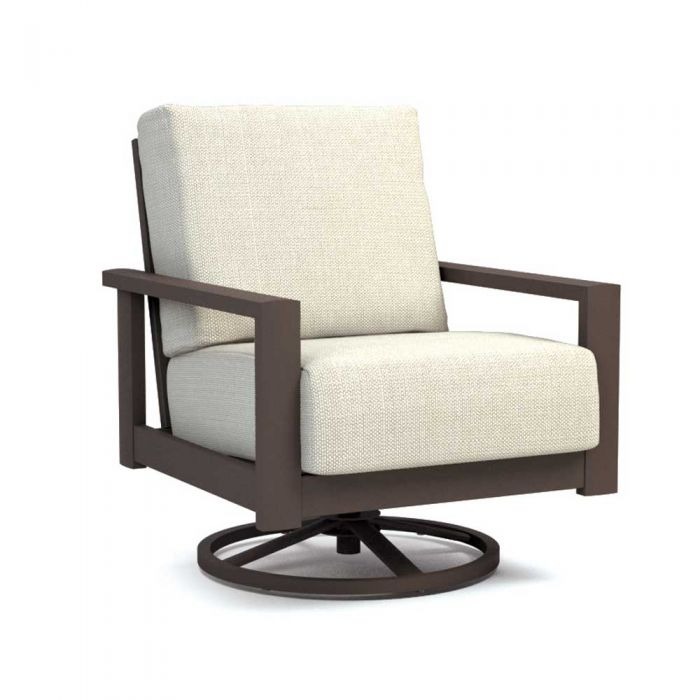 Homecrest Elements Cushion Aluminum Swivel Rocker Chat Chair, 30x33-Inches