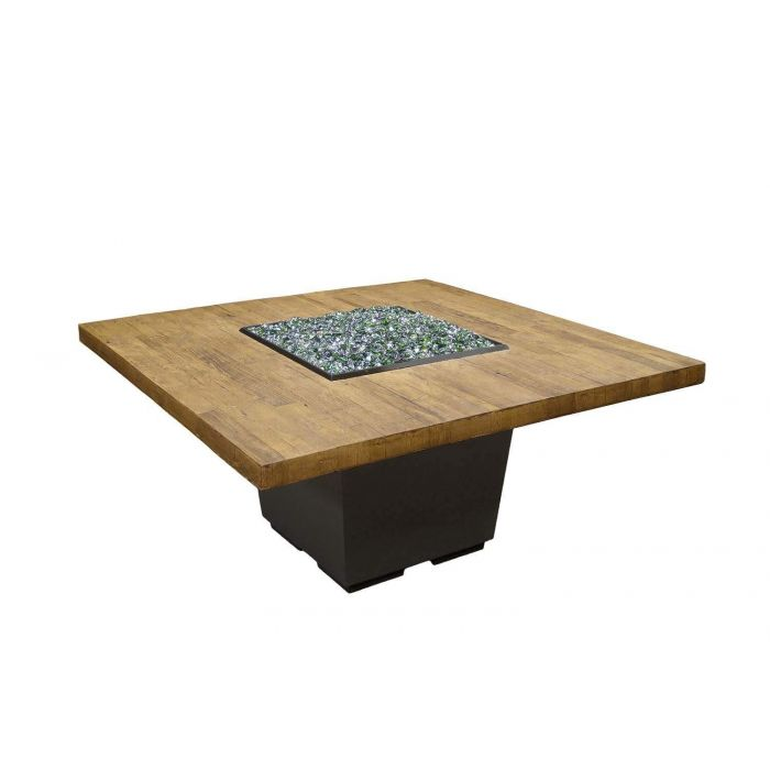American Fyre Designs French Barrel Oak Cosmo Chat Height Fire Table, Square