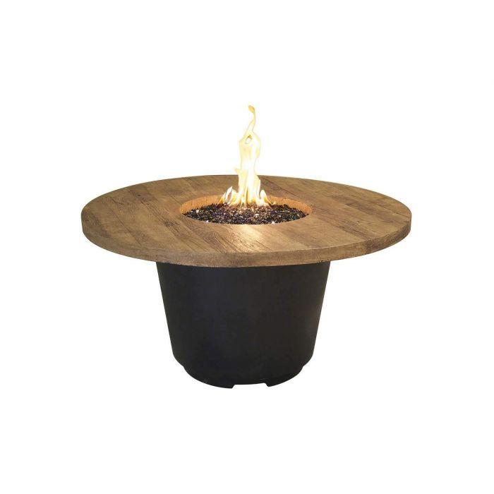 French Oak French Barrel Oak Cosmo Chat Height Fire Table, Round