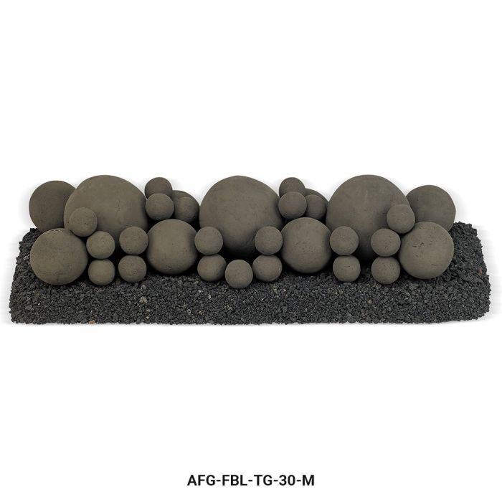 American Fireglass Mixed Ceramic Lite Stone Balls, Thunder Gray