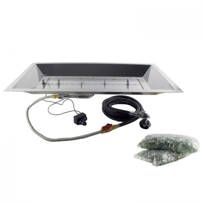 The Outdoor GreatRoom Company CF-1224 Spark Ignition Fire Pit Kit, 12x24-Inch Rectangular Bowl