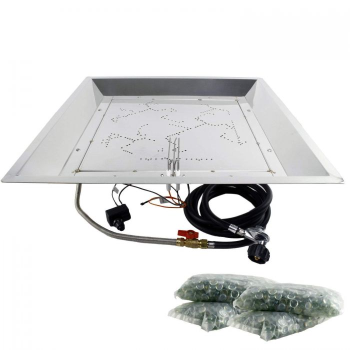 The Outdoor GreatRoom Company CF-2424 Spark Ignition Fire Pit Kit, 24x24-Inch Square Bowl