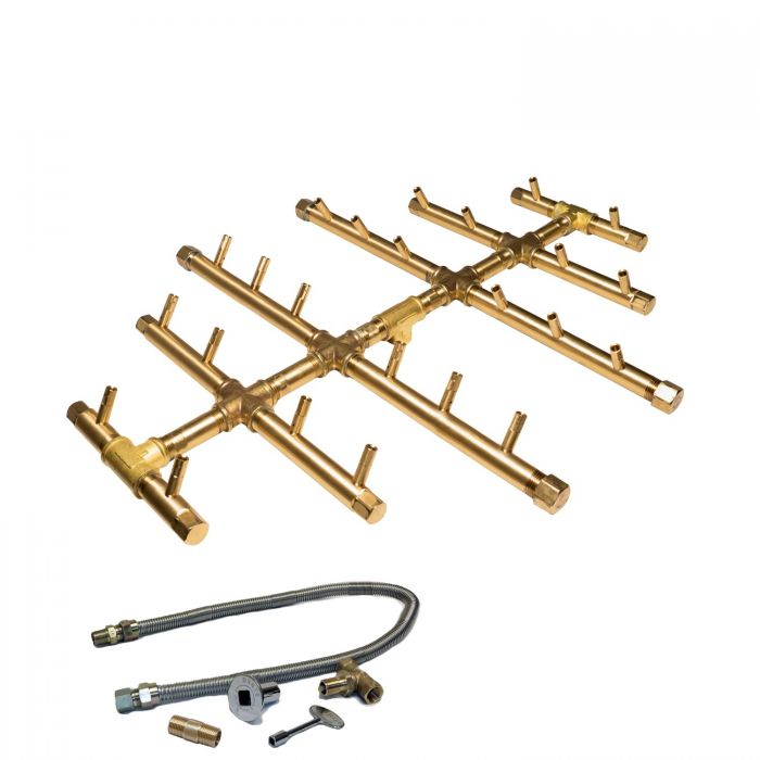 Warming Trends Crossfire Match Lit Round Tree-Style Brass Gas Fire Pit Burner Kits