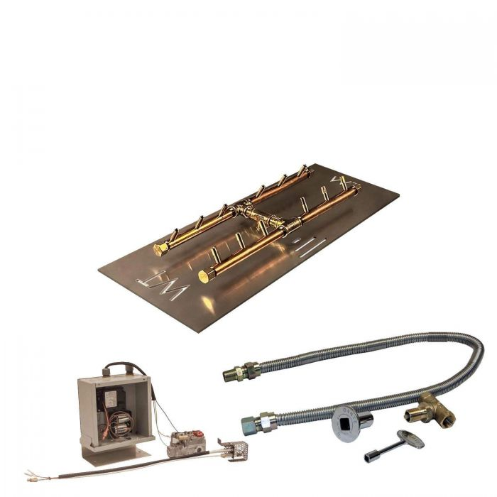 Warming Trends Crossfire 3V Electronic Spark Ignition H-Style Brass Gas Fire Pit Burner Kits