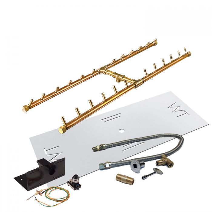 Warming Trends Crossfire Spark Ignition H-Style Brass Gas Fire Pit Burner Kits