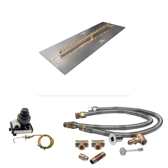 Warming Trends Crossfire Spark Ignition Linear Brass Gas Fire Pit Burner Kits