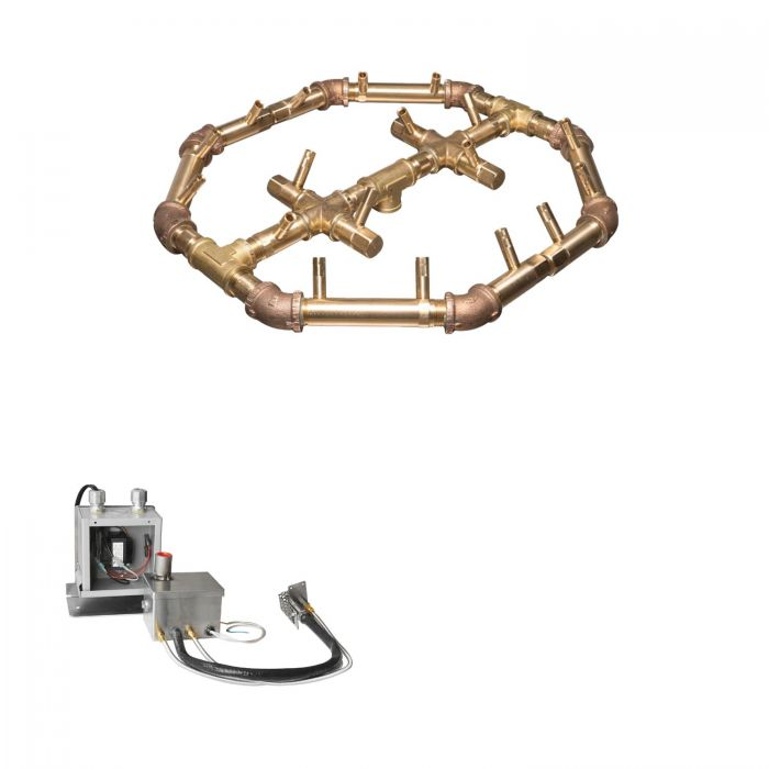 Warming Trends Crossfire 24V Electronic Hot Surface Ignition Octagonal Tree-Style Brass Gas Fire Pit Burner Kits