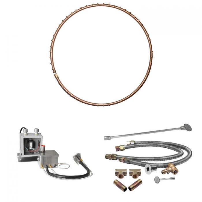 Warming Trends Crossfire 24V Electronic Hot Surface Ignition Full-Circle Brass Gas Fire Pit Burner Kits