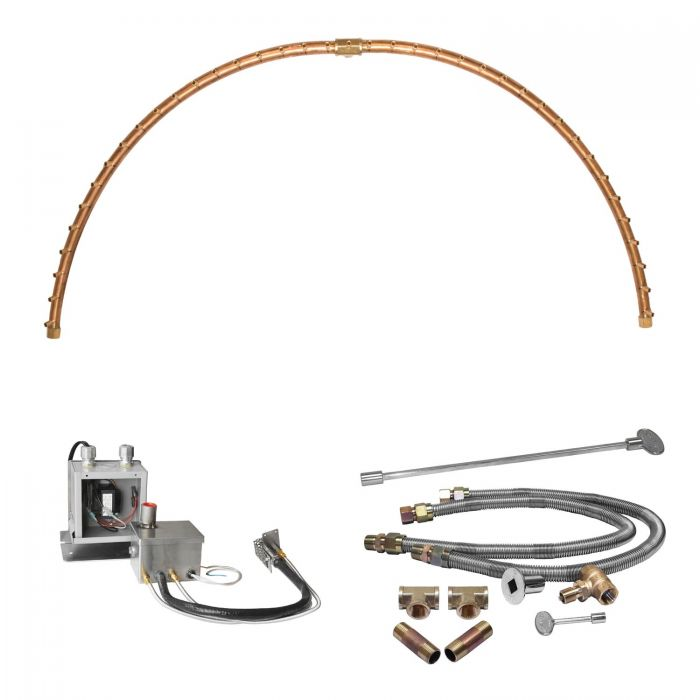Warming Trends Crossfire 24V Electronic Hot Surface Ignition Half-Circle Brass Gas Fire Pit Burner Kits