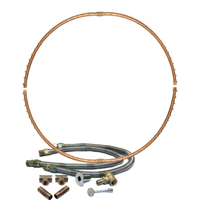 Warming Trends Crossfire Match Lit Full-Circle Brass Gas Fire Pit Burner Kit