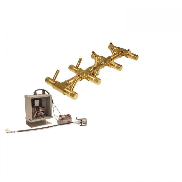 Warming Trends Crossfire 3V Electronic Spark Ignition Linear Tree-Style Brass Gas Fire Pit Burner Kits
