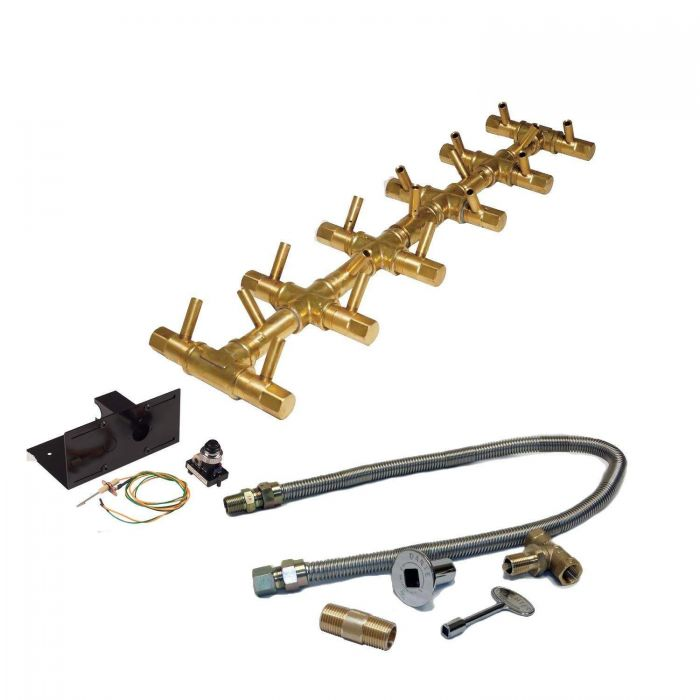 Warming Trends Crossfire Spark Ignition Linear Tree-Style Brass Gas Fire Pit Burner Kits
