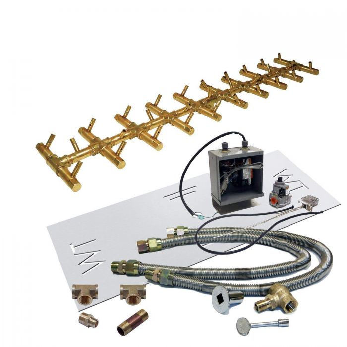 Warming Trends Crossfire 24V Electronic Spark Ignition Linear Tree-Style Brass Gas Fire Pit Burner Kits