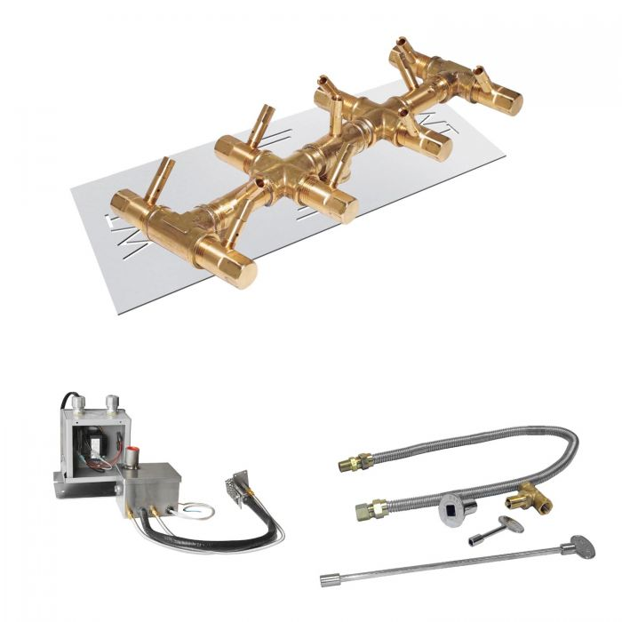 Warming Trends Crossfire 24V Electronic Hot Surface Ignition Linear Tree-Style Brass Gas Fire Pit Burner Kits