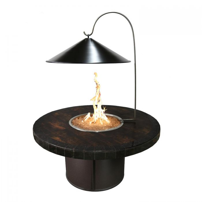 The Outdoor Plus OPT-RCB17HRF Black Steel Cone Fire Pit Cover with Heat Reflector, 17-Inch