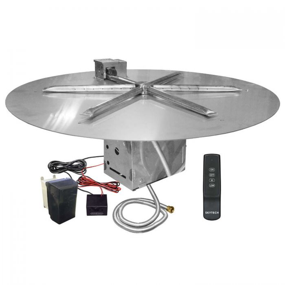 Firegear FPB-DBSTFS UL Listed Electronic Ignition Gas Fire Pit Burner Kit, Round Flat Pan