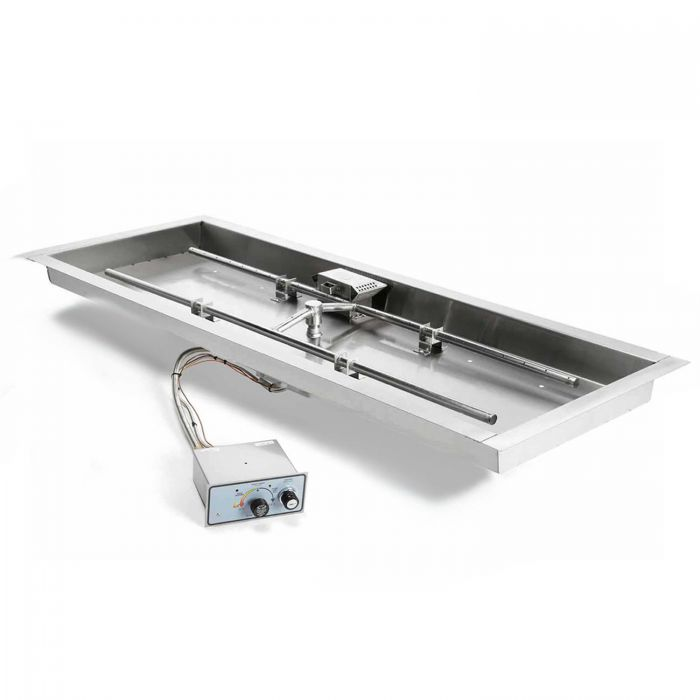 Hearth Products Controls FPPK Push Button Flame Sensing Gas Fire Pit Kit, Rectangular Bowl Pan