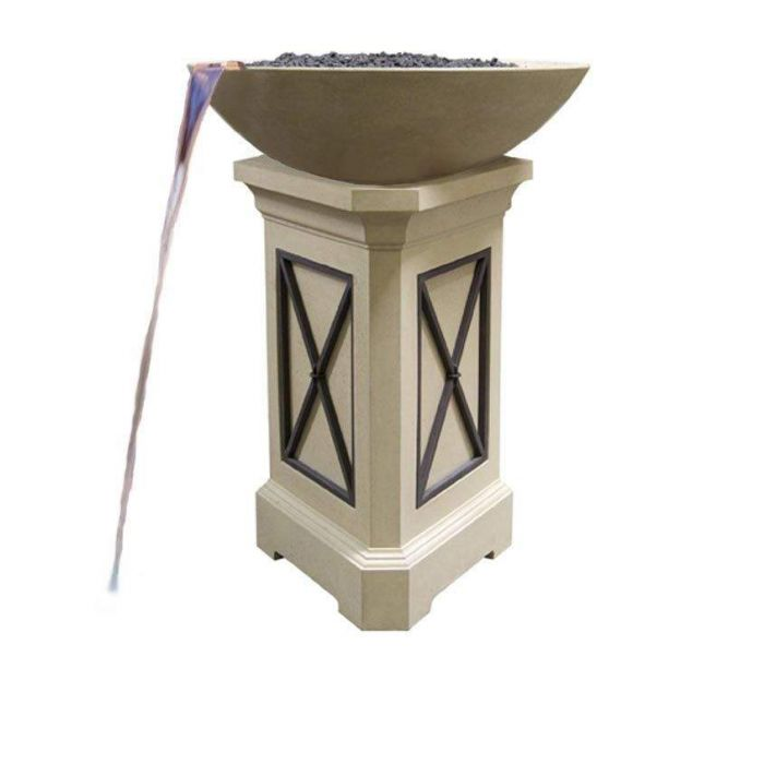 American Fyre Designs Marseille 48-Inch Fire Bowl with 44-Inch Pedestal and Water Spout