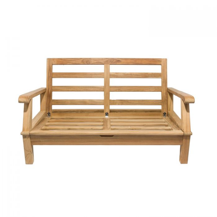 Royal Teak Collection MIA2FO Miami Teak Love Seat, Frame Only (Cushions Not Included)