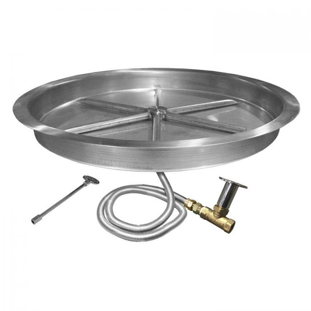 Firegear FPB-RBSMT Match Light Gas Fire Pit Burner Kit, Round Bowl Pan, High Capacity